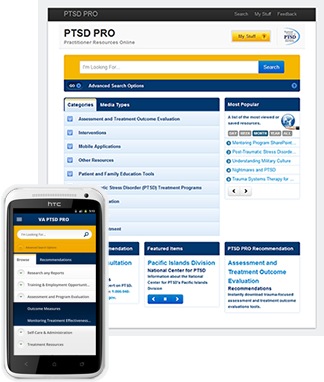 PTSD Knowledge Sharing portal interface